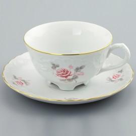 Чайная пара 220 мл. 6 шт. Рококо OMD002 Бледная Роза из фарфора Crystalex