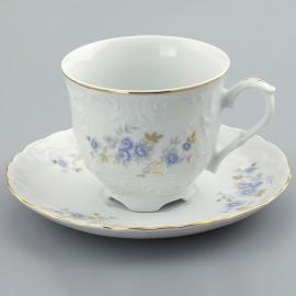 Чайная пара 6пр 250/15 Rococo 9706 голубой цветок из фарфора Сmielow