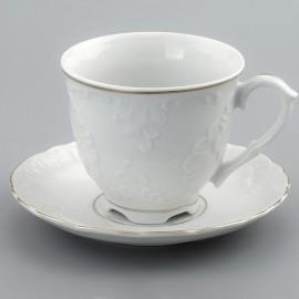 Чайная пара 250мл Rococo 3604 two lines gold из фарфора Сmielow
