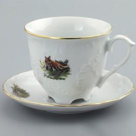 Кофейные пары 170 мл. 6 шт. Рококо OMD1051 Охота белая из фарфора Crystalex