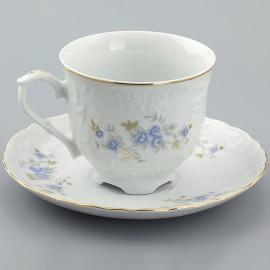 Кофейная пара 6пр 10/12.5 Rococo 9706 голубой цветок из фарфора Сmielow