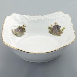 Салатник прямоугольный 24 см. Рококо OMD1051 Охота белая из фарфора Crystalex