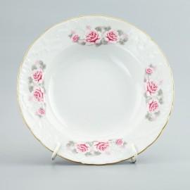 Тарелка глубокая 22,5 см. 6шт. Рококо OMD002 Бледная Роза из фарфора Crystalex