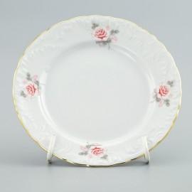 Тарелка мелкая 25 см. 6шт. Рококо OMD002 Бледная Роза из фарфора Crystalex