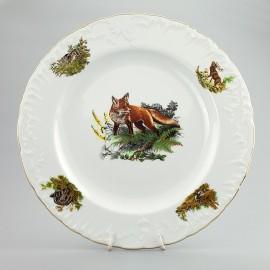 Тарелка десертная 17 см. 6 шт. Рококо OMD1051 Охота белая из фарфора Crystalex