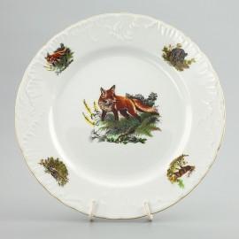 Тарелка десертная 19 см. 6 шт. Рококо OMD1051 Охота белая из фарфора Crystalex