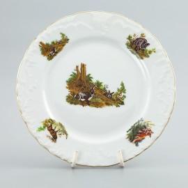Тарелка десертная 21см. 6 шт. Рококо OMD1051 Охота белая из фарфора Crystalex