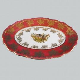 Блюдо овальное 33 см. Мария ТерезаOMD1051/2 Охота красная из фарфора Crystalex