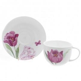 Тюльпаны чайная пара для завтрака 400 мл COIKTUL1166