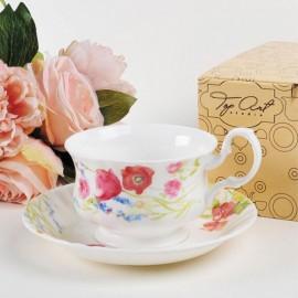 Луговые маки акварелью чайная пара для завтрака 400 мл LD2231-TA