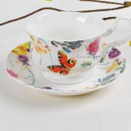 Порхающие цветы чайная пара для завтрака 400 мл LD2233-TA