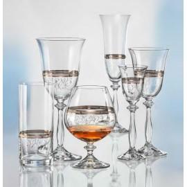 Бокалы для шампанского Анжела 40600/Q8997 платиновые кружева/широкий кант 190 мл. 6 шт. Crystalex Bohemia