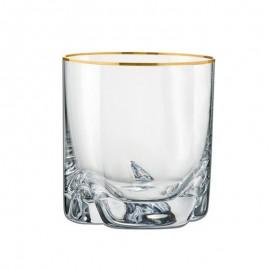 Стаканы для виски Барлайн Трио 25089/20733/133 золотая отводка 280 мл. 6 шт. Crystalex Bohemia