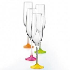 Бокалы для шампанского Виола 40729/D4897 неон кракле 190 мл. 6 шт. Crystalex Bohemia