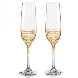 Бокалы для шампанского Виола 40729/M8441 золотая спираль 190 мл. 2 шт. Crystalex Bohemia