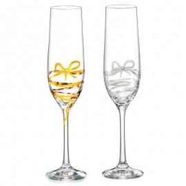 Бокалы для шампанского Виола 40729/M8567 лента с бантом золото/платина 190 мл. 2 шт. Crystalex Bohemia