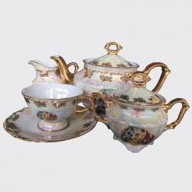 Чайный сервиз 15 пр. Мария Тереза OMD25877 Перламутровая мадонна из фарфора Crystalex