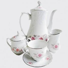 Кофейный сервиз 15 пр. Рококо Бледная роза отводка платиной из фарфора Crystalex