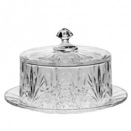 Тарелка для сыра с крышкой Tulip 23 см. из хрусталя Crystal Bohemia