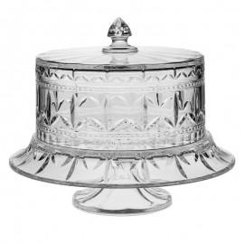 Тарелка для торта на ножке с крышкой, 40 см/Чаша с блюдом для пунша Tulip из хрусталя Crystal Bohemia