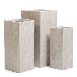 Кашпо Ergo Cork кубическое высокое белый песок, ш-20х20 см