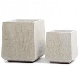 Кашпо Ergo Cork кубическая трапеция белый песок, ш-28х28 см