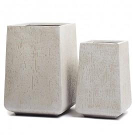 Кашпо Ergo Cork высокая кубическая трапеция белый песок, ш-37х37 см